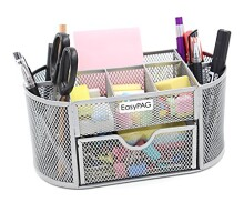 EasyPAG Mesh Office Desk Accessories Organizer 9 Components with Drawer, Silver