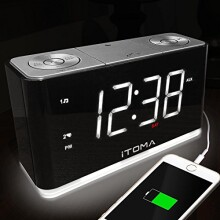 iTOMA Alarm Clock with FM Radio, Dual Alarm, USB Charging, Night Light, Auto Dimmer Control, Sleep Timer, Auto Time Setting, AUX-IN, Backup Battery (CKS507)