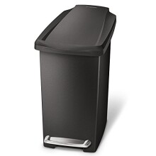 simplehuman Slim Step Trash Can, Black Plastic, 10L / 2.6 Gal