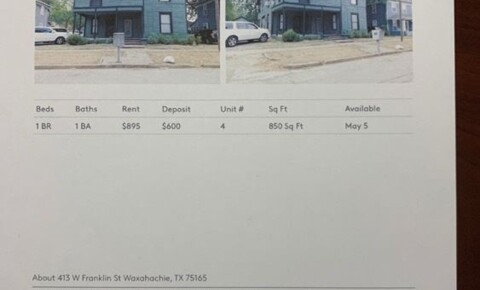 Apartments Near SAGU 413 W Franklin St #4 for Southwestern Assemblies of God University Students in Waxahachie, TX