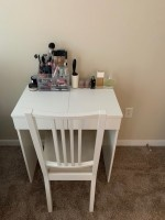 Make up vanity/dressing table with built-in mirror and chair (Ikea BRIMNES)