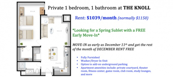 $1039/mo. (The Knoll) - Private 1 bed, 1 bath - Spring Sublet (Mid-December move in for FREE)