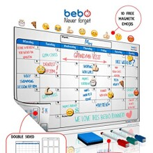 Magnetic Calendar For Refrigerator -Dry Erase Board For Fridge - Whiteboard With Both Monthly & Weekly Planner - Includes 3 Markers, Message Eraser & 10 White Board Emojis - Unique Patent Design !